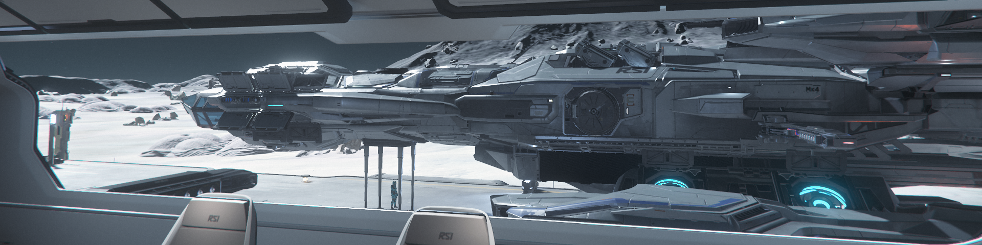 The view of a 61 metre Constellation class space cutter with pilot for scale - as seen through the window of another ship sharing the same landing pad.